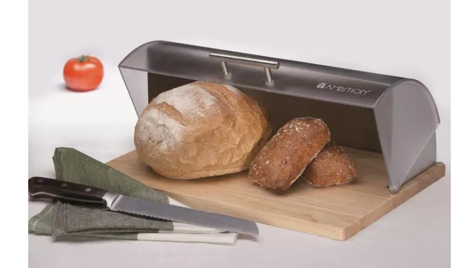 Chlebník s dreveným podstavcom Logan Gray AMBITION
